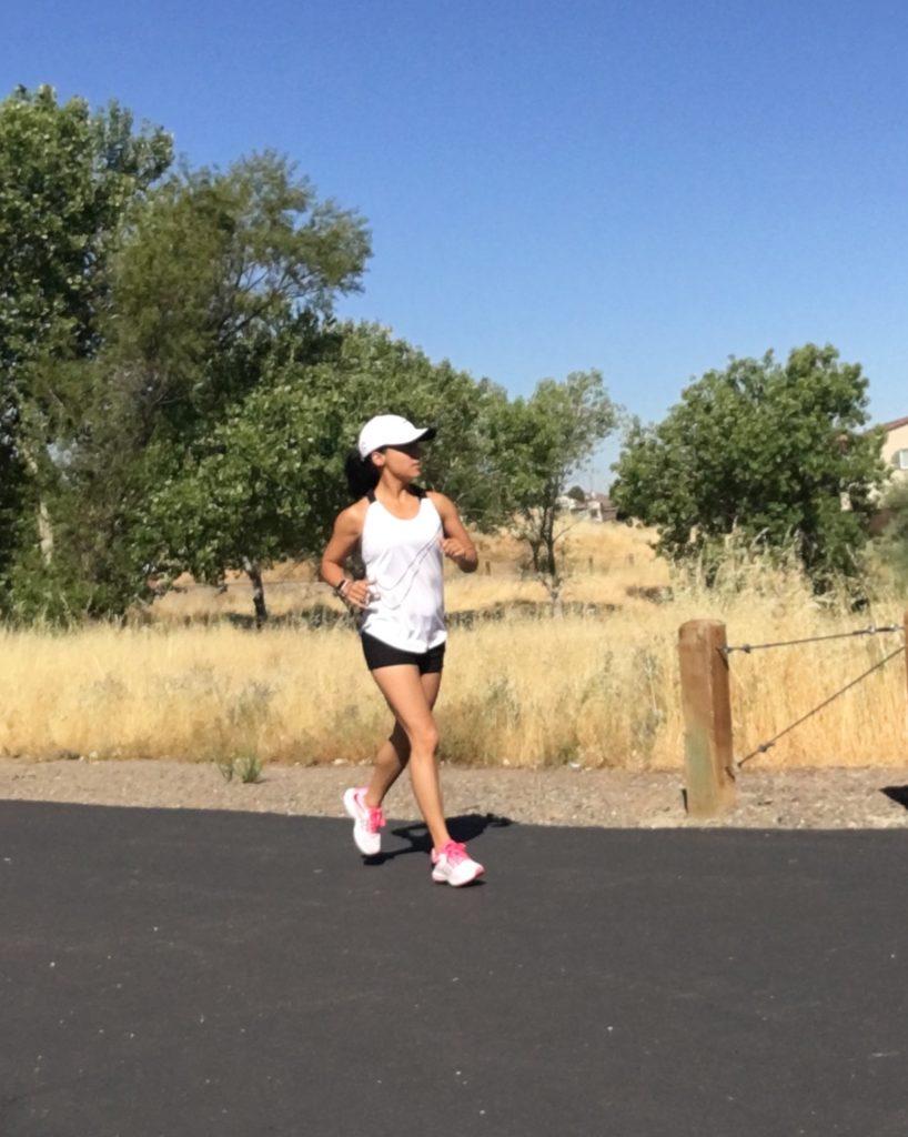 running on a sunny morning