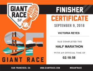 Race finisher certificate