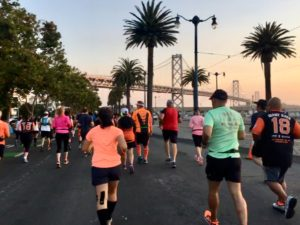 The run has began with a view of the sun rising over the bridge