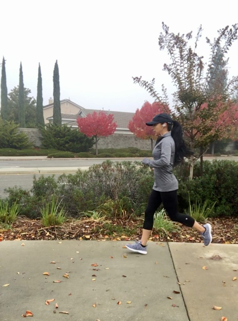 Looking focused running with my earbuds.