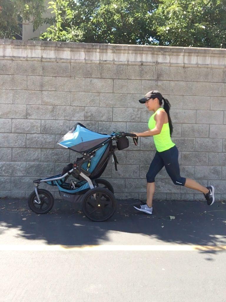 Running on bike trail pushing my baby in my Bob's running stroller