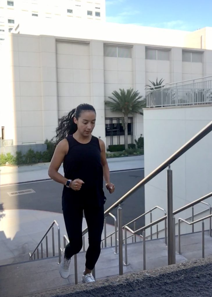 Early morning outdoors stairs workout.