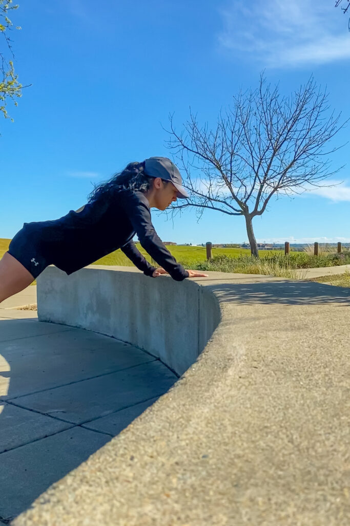 Push-ups on park bench